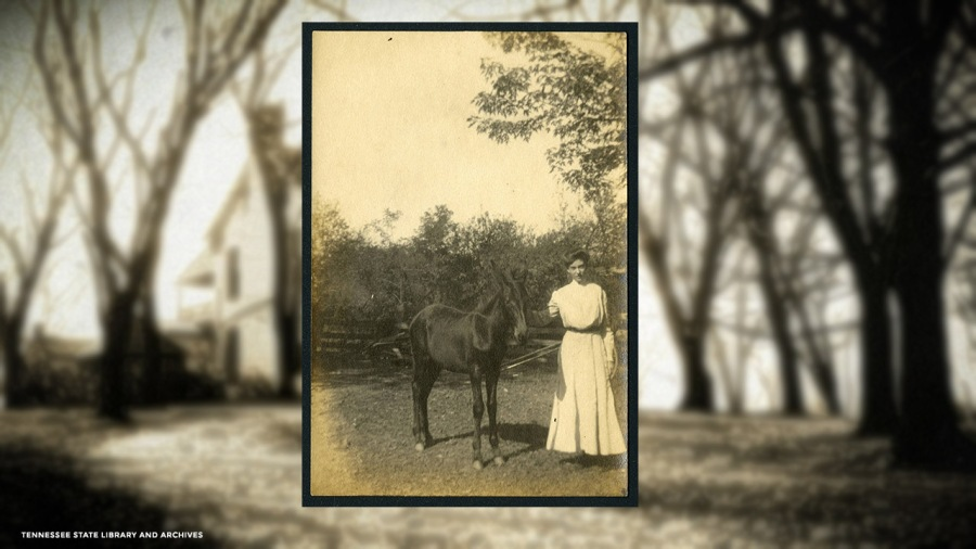 Margaret Croft with mule