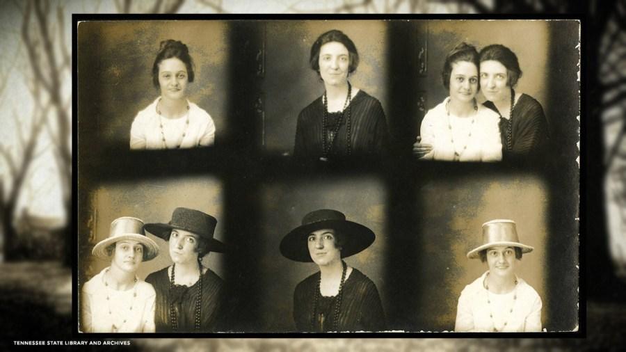Snapshot postcard of Margaret and Elise Croft