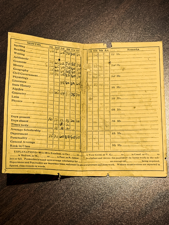 1922 Waverly report card